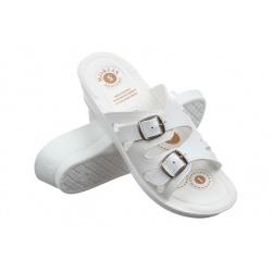 Papuci albi de vara pentru femei Mjartan 2802-P03 reglabili