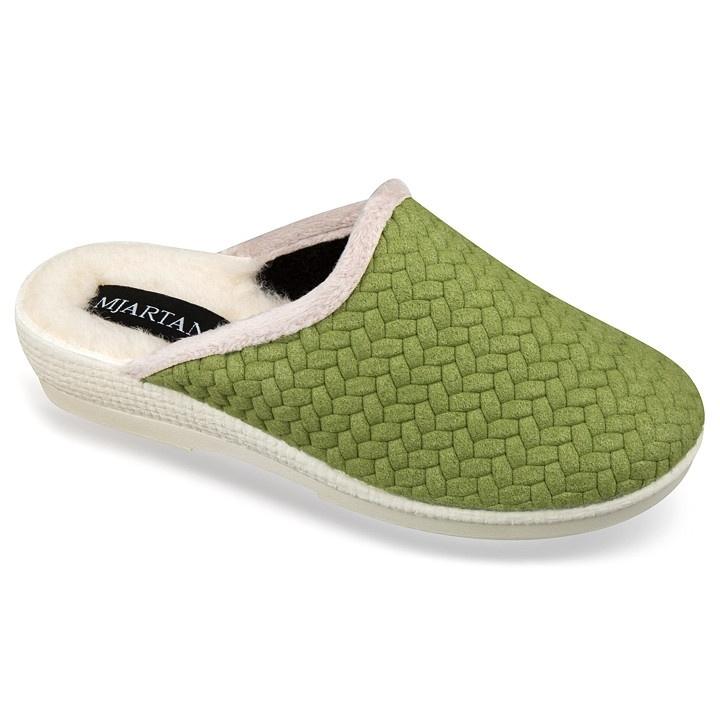 Papuci dama imblaniti ortopedici de casa verzi Mjartan 7057-T168