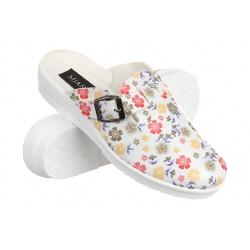 Saboti medicali femei Mjartan 2214-P10 albi cu floricele