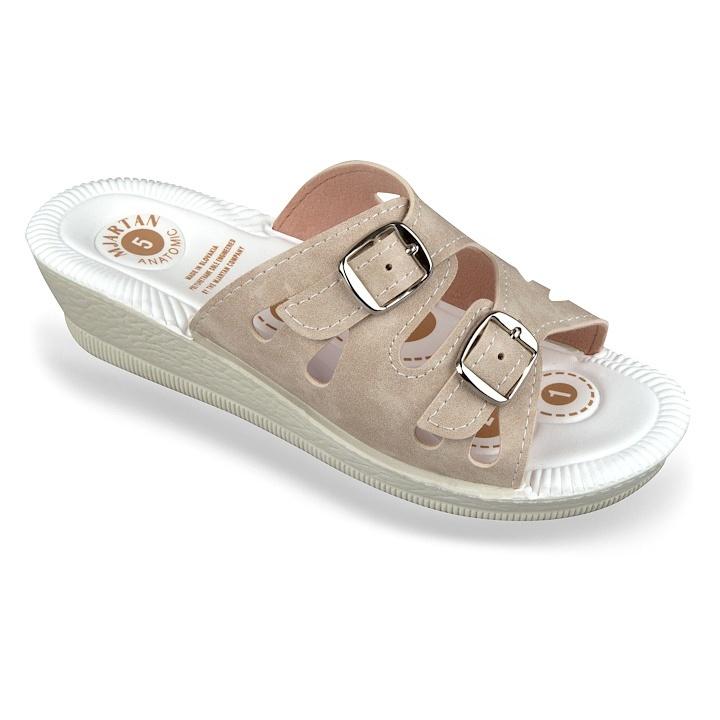 Papuci de vara, bej, Mjartan 2802-N13B, mat, brant gel