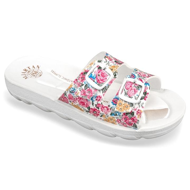 Papuci ortopedici Mjartan 2205-P14 albi cu floricele roz brant anatomic