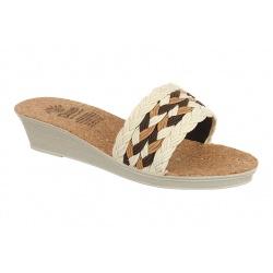Papuci dama Mjartan 2501 Z07albi cu bej  talpa pluta
