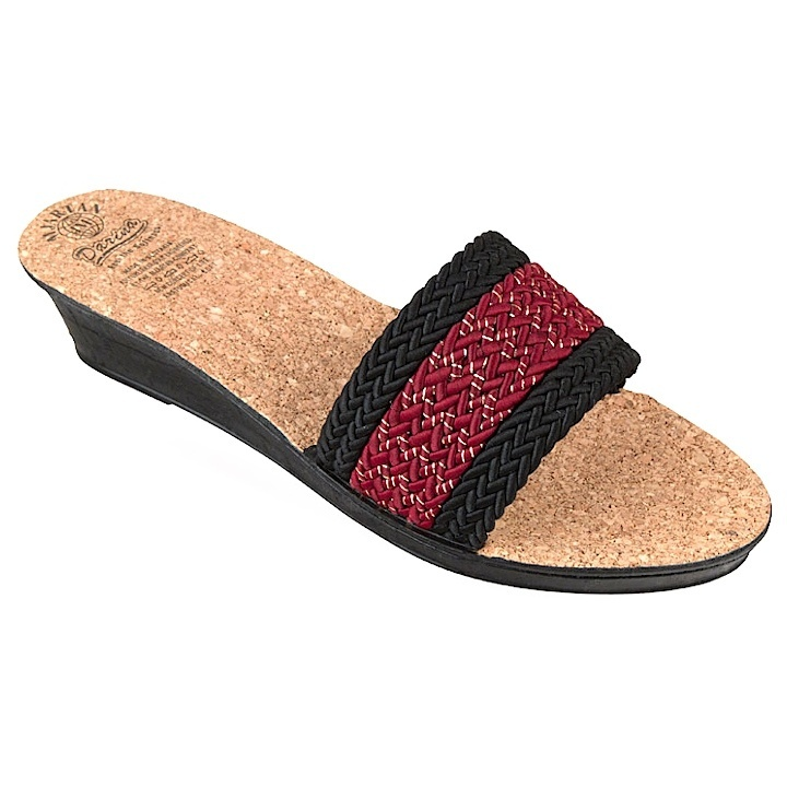 Papuci femei Mjartan 2501 Z01 bordo cu dungi negre cu talpa pluta