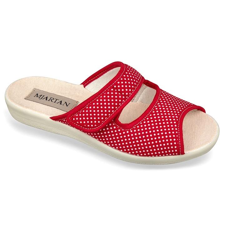 Papuci de casa femei 543-LC24 rosii cu buline albe