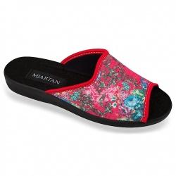 Papuci casa femei 503-LC59 rosii cu floricele