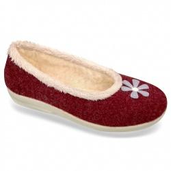 Pantofi de casa, pentru femei, 100% lana naturala, Mjartan 8097-T05 bordo