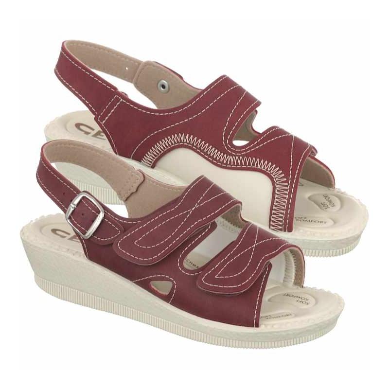 sandale pentru monturi dama ortopedice bordo Mjartan 2815-N16
