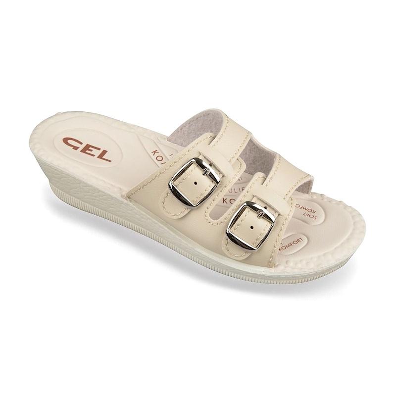 papuci de vara ortopedici reglabili brant gel dama Mjartan 2810-P01 bej