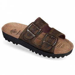 Papuci slapi ortopedici reglabili barbati Mjartan 9018-P07 maro