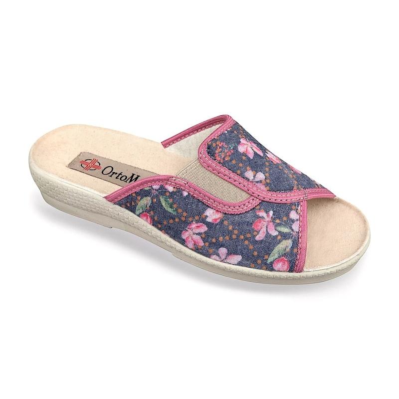 Papuci de casa ortopedici  dama Mjartan 545-LC95 floricele roz