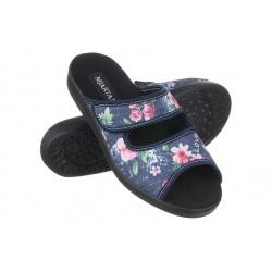 Papuci de casa Mjartan® 543-L74-L27 bleumarin cu floricele multicolore