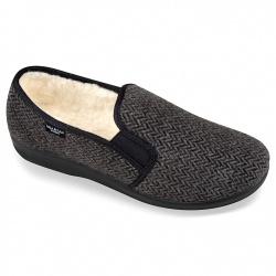 Pantofi casa ortopedici imblaniti lana pentru barbati Mjartan 824-C50 gri negri