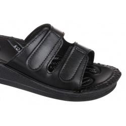 Papuci ortopedici femei Mjartan 2810-P02 negri, reglabili cu arici