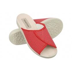 Papuci de casa femei Mjartan 507-LC24-T123 rosii cu buline albe