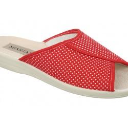 Papuci de casa femei Mjartan 507-LC24-T123 rosii cu buline
