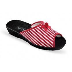 Papuci de casa ortopedici Mjartan 509L08-M07 rosii cu dungi albe