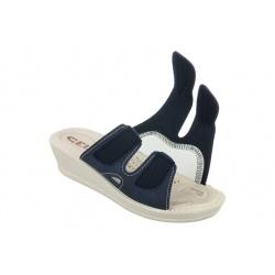 Papuci ortopedici bleumarin 2817-N17-N08 pentru femei reglabili cu arici scai