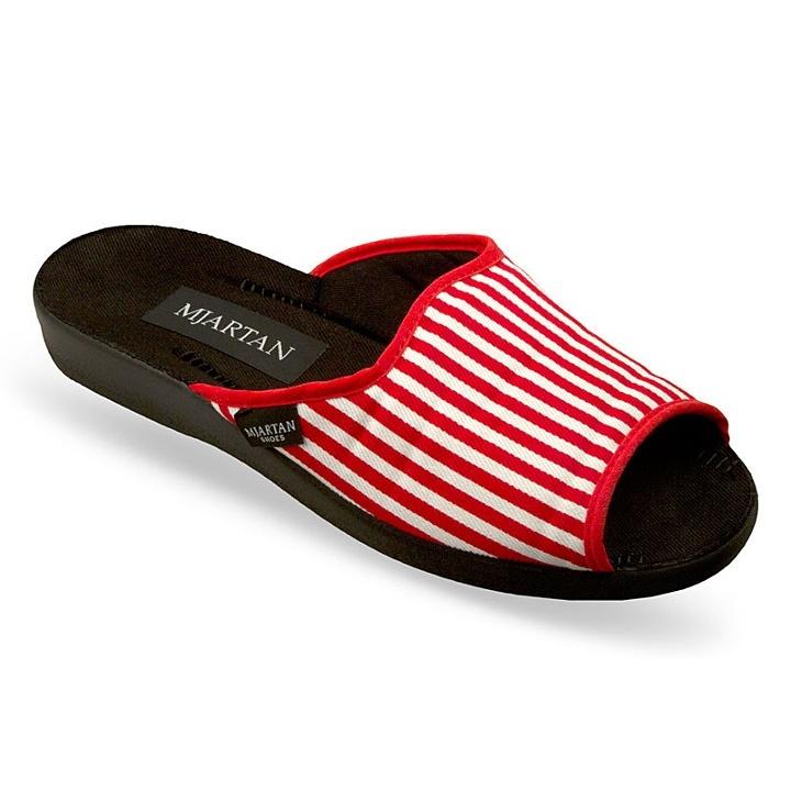 Papuci de casa femei Mjartan 503-L08 dungi rosii