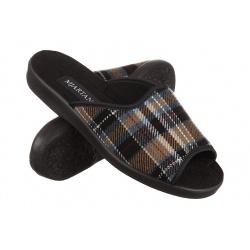 Papuci de casa barbati Mjartan 504-K87 carouri bej