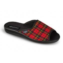 Papuci de casa femei Mjartan 503-K52 carouri rosii