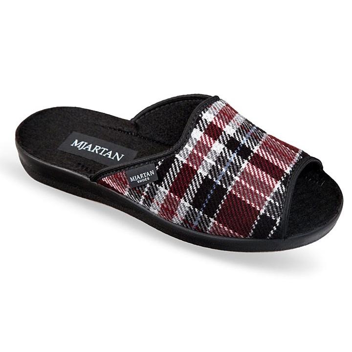 Papuci de casa femei 503-K78 carouri bordo