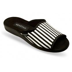 Papuci de casa femei Mjartan 503-L06 dungi negre albe