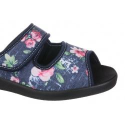 Papuci de casa femei Mjartan 543-L74-L27 bleumarin cu floricele