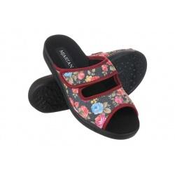 Papuci de casa femei  Mjartan 543-L75-L27 negri cu floricele
