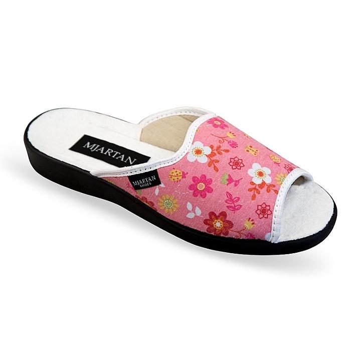 Papuci de casa femei Mjartan 503-L21 roz cu floricele