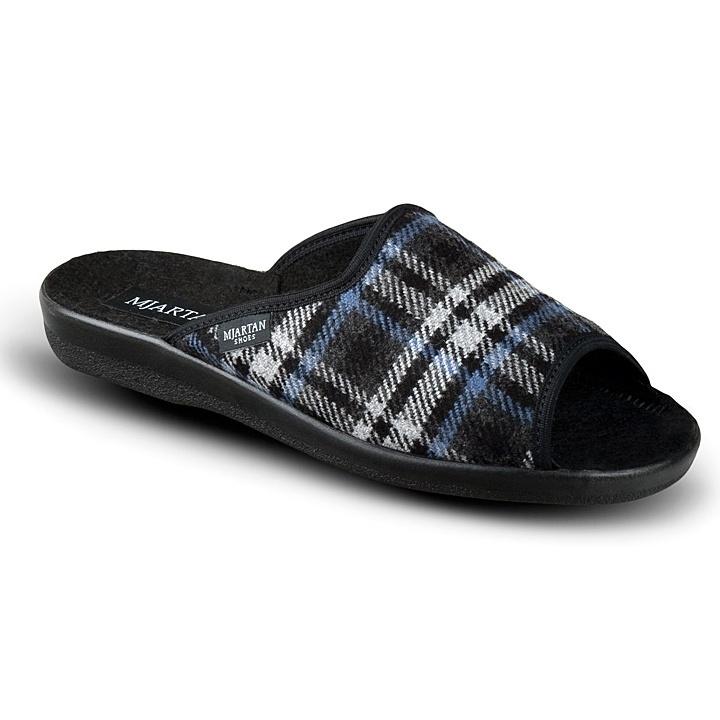 Papuci de casa barbati 504-K43 carouri bleu gri