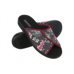 Papuci de casa femei Mjartan 507-L50 negri cu floricele multicolore