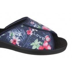 Papuci de casa femei Mjartan 507-L74 bleumarin cu floricele