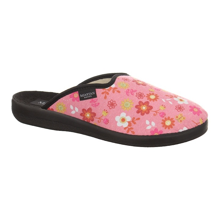 Saboti de casa, femei, roz, cu floricele, Mjartan 607L21