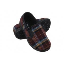 Pantofi de casa, pentru femei, Mjartan 623-K34, carouri maro