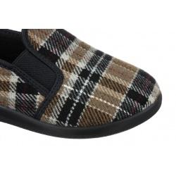 Pantofi de casa Mjartan 623-K85 pentru femei barbati carouri bej