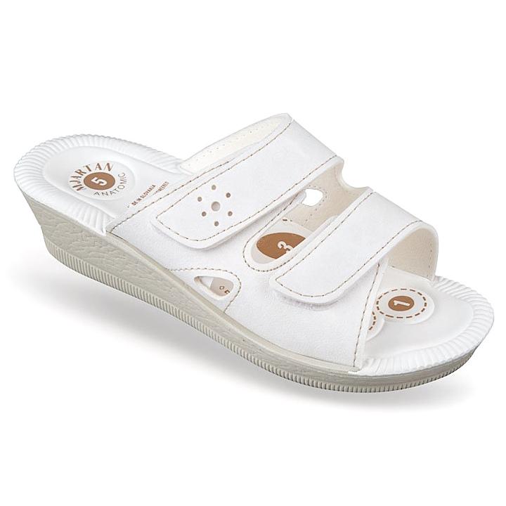 Papuci vara albi ortopedici dama Mjartan 2814-N12