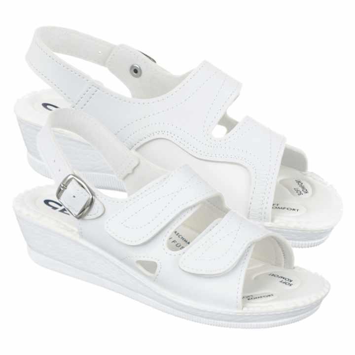Sandale pentru monturi Hallux Valgus dama albe